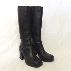 3981755ec355 Vintage Shoes - Vintage 90s Chunky Heel Leather Knee High Boots